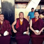 Waiting at the Airport: Lama Urgyen, Nedo Rinpoche and Khenpo Wangdue (from left to right)