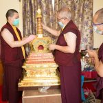 Karmapa filled and consecrated a stupa with the relics of Shamar Rinpoche