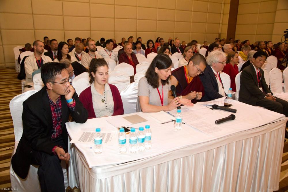 The translation team from left to right: Yeshey Jungney, Julika Weber, Dr. Tina Draszczyk, Ven. Sabchu Rinpoche