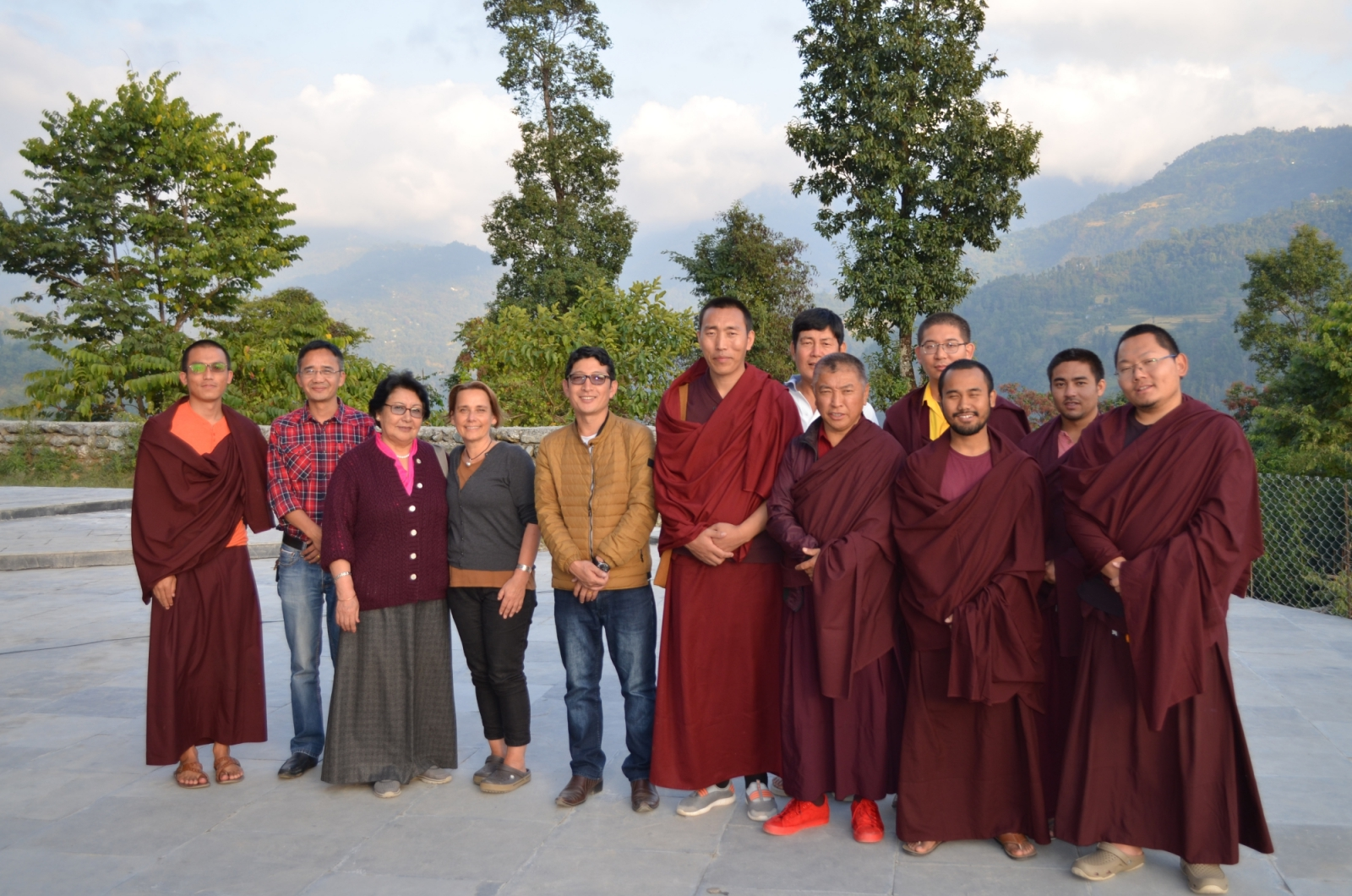 In the photo left to right: Tsultrim Dargay, Yeshey Jungney, Diki Wangchuk, Diane Brodkorb, Dr. Tsewang Gyatso, Khenpo Wangdu, Dawa Waiba, Tsultrim Jinpa, Tsultrim Drakpa, Tsultrim Sonam and Drimay Dawa